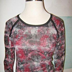 Black Red Gray Rhinestone Semi Sheer Sweatshirt S